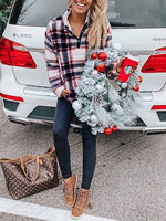 Load image into Gallery viewer, Ladies Christmas Wind Plush Plaid Pullover