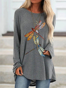 Ladies dragonfly print round neck long sleeve T-shirt