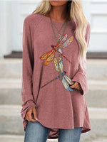 Load image into Gallery viewer, Ladies dragonfly print round neck long sleeve T-shirt