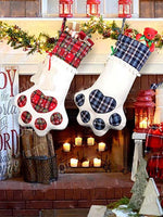 Load image into Gallery viewer, Christmas dog paw plaid decorative socks