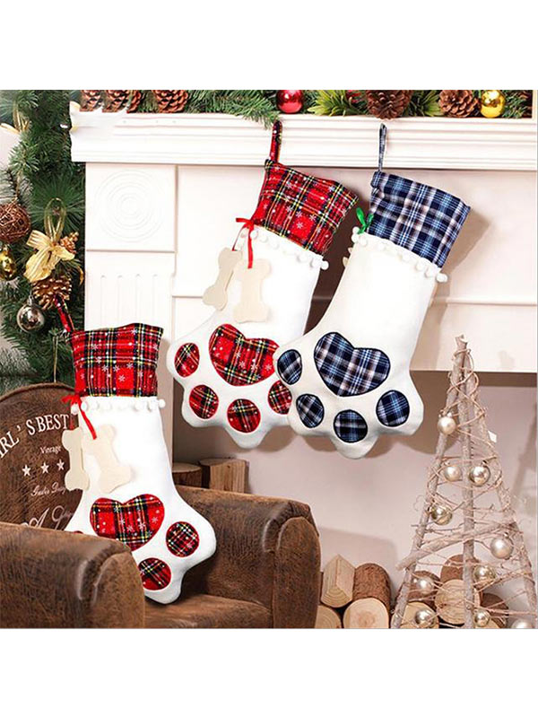 Christmas dog paw plaid decorative socks