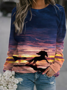 Women's Horse printed crew neck casual sweatshirt