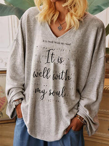 It Is Well With My Soul Print Casual V-Neck Long Sleeve T-Shirt