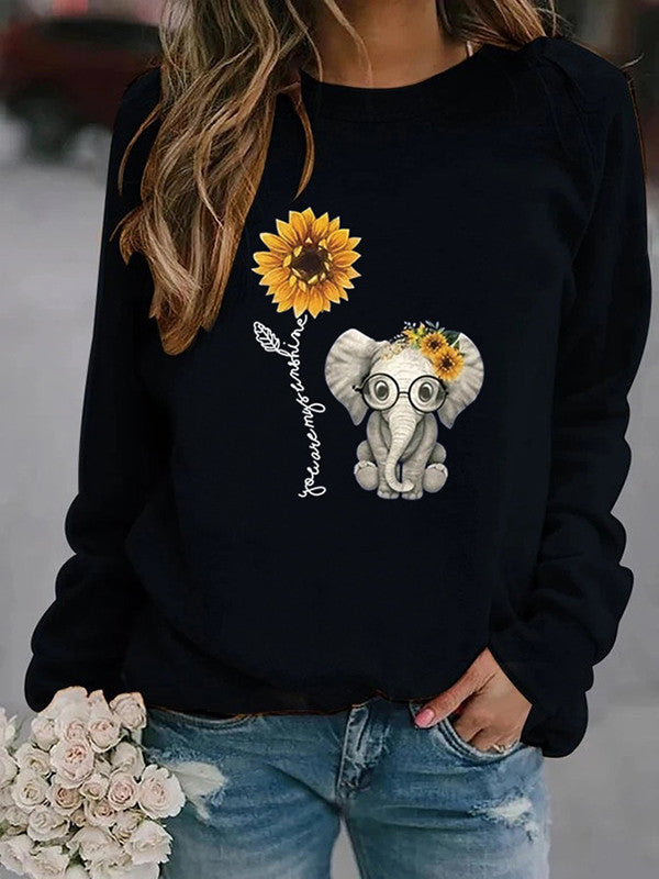 Elephant sunflower letter print sweatshirt