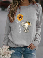 Load image into Gallery viewer, Elephant sunflower letter print sweatshirt