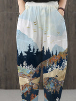 Load image into Gallery viewer, Ladies Mountain printed pouch slacks