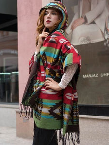 Western Aztec Hooded Wool Cozy Shawls