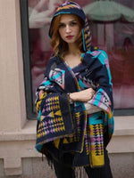 Load image into Gallery viewer, Western Aztec Hooded Wool Cozy Shawls