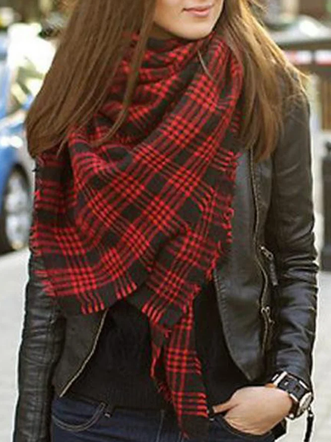 Cashmere Imitation Red Plaid Scarves & Shawls