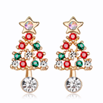 Load image into Gallery viewer, Women's Crystal Christmas Tree Earrings