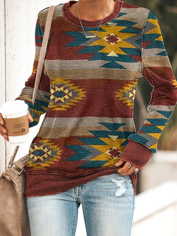 Ladies ethnic style printed sweatshirt