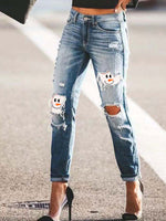 Load image into Gallery viewer, Women's Snowman Face Printe Christmas Jeans