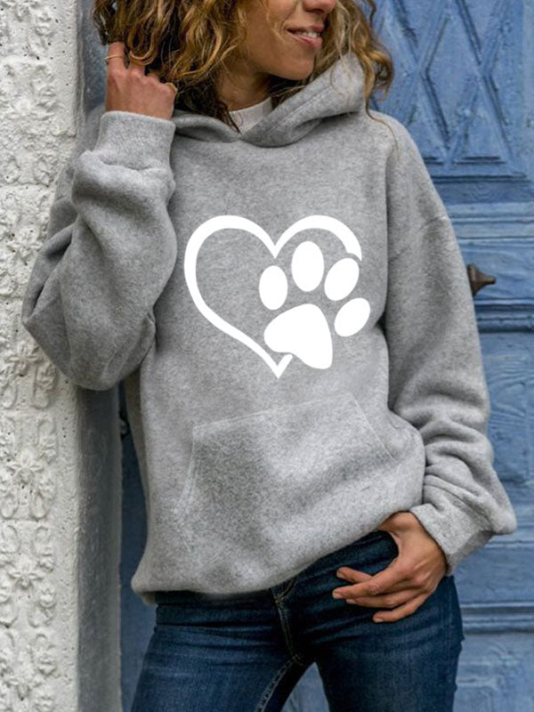 Ladies Dog Paw Love Printed Pocket Hoodie