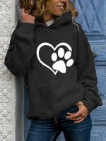 Load image into Gallery viewer, Ladies Dog Paw Love Printed Pocket Hoodie