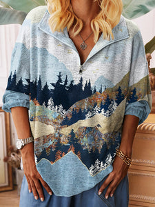 Women's Forest And Mountain Print V-neck Casual Top With Zipper