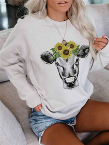 Sunflower Cow Print Casual Pullover