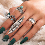Load image into Gallery viewer, 4 Pcs/Set Turquoise Angel Feather Rings