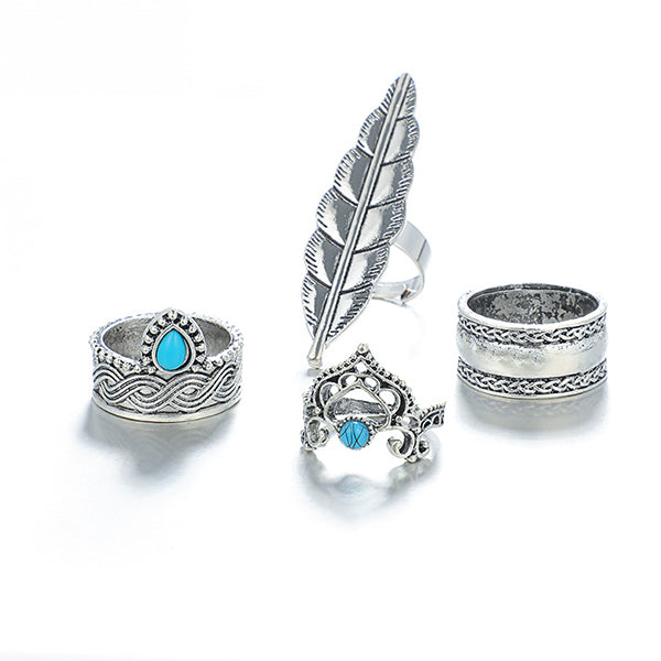 4 Pcs/Set Turquoise Angel Feather Rings
