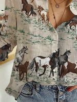Load image into Gallery viewer, Vintage Horse Print Cotton And Linen Shirt