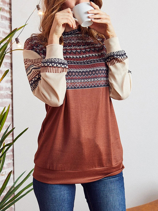 Ethnic Print Mock Neck Pullover
