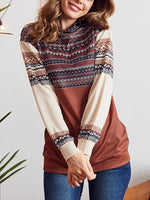 Load image into Gallery viewer, Ethnic Print Mock Neck Pullover