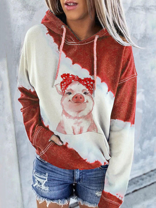 Lovely Pig Print Contrast Color Hoodie