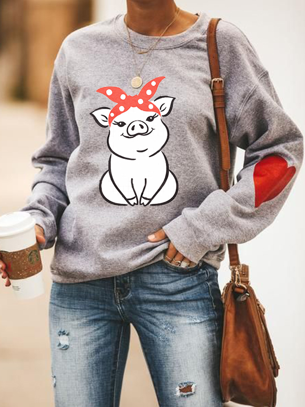 Women's Bowknot Piggy Print Casual Long-Sleeved Sweater
