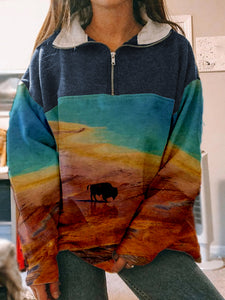 National Park Print Zip Pullover