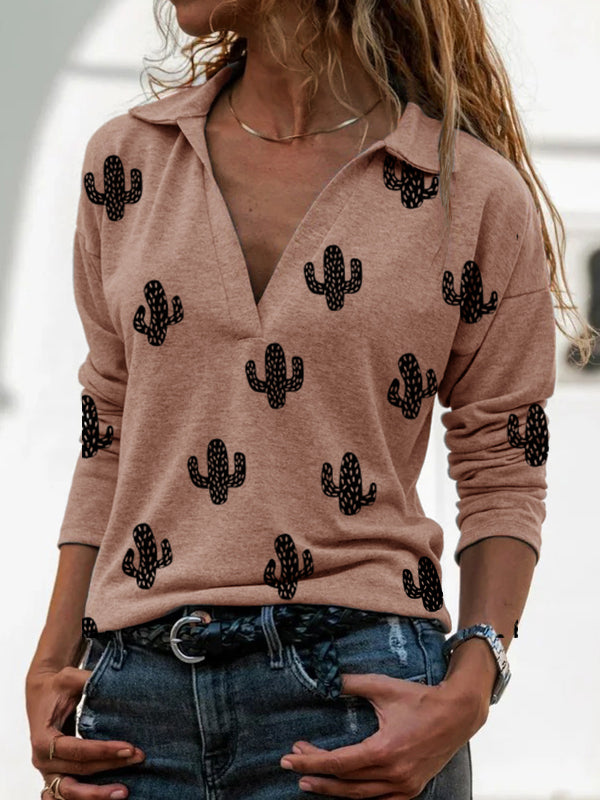 Western Cactus Print V-Neck Long Sleeve T-Shirt