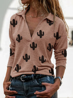 Load image into Gallery viewer, Western Cactus Print V-Neck Long Sleeve T-Shirt