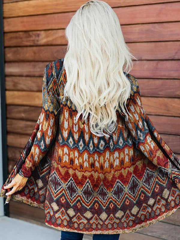 Ladies casual ethnic print long-sleeved T-shirt