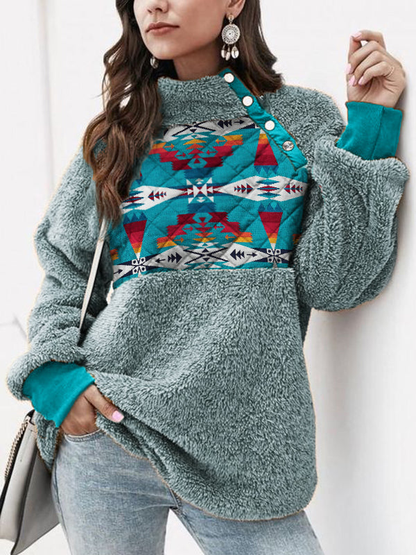 Aztec Patchwork Cozy Sherpa Pullover