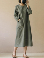 Load image into Gallery viewer, Cotton & Linen Mid-Length Literary Retro Long-sleeved Dress