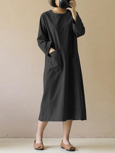 Cotton & Linen Mid-Length Literary Retro Long-sleeved Dress
