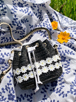 Load image into Gallery viewer, Vintage Daisy Woven Mini Bucket Bag