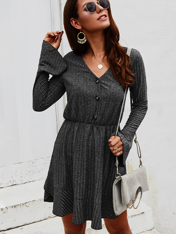 Women's Solid Color Button Retro Long Sleeve Dress