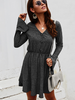 Load image into Gallery viewer, Women's Solid Color Button Retro Long Sleeve Dress