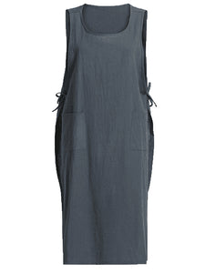 Plus Size Women's Loose Long Skirt Lace-up Linen Cotton Dress