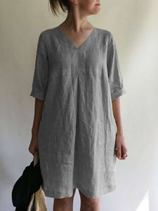Women's V-neck Solid Color Cotton And Linen Loose Dress
