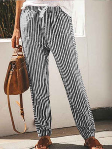 Women's Casual Cotton Linen Printed Loose Pants
