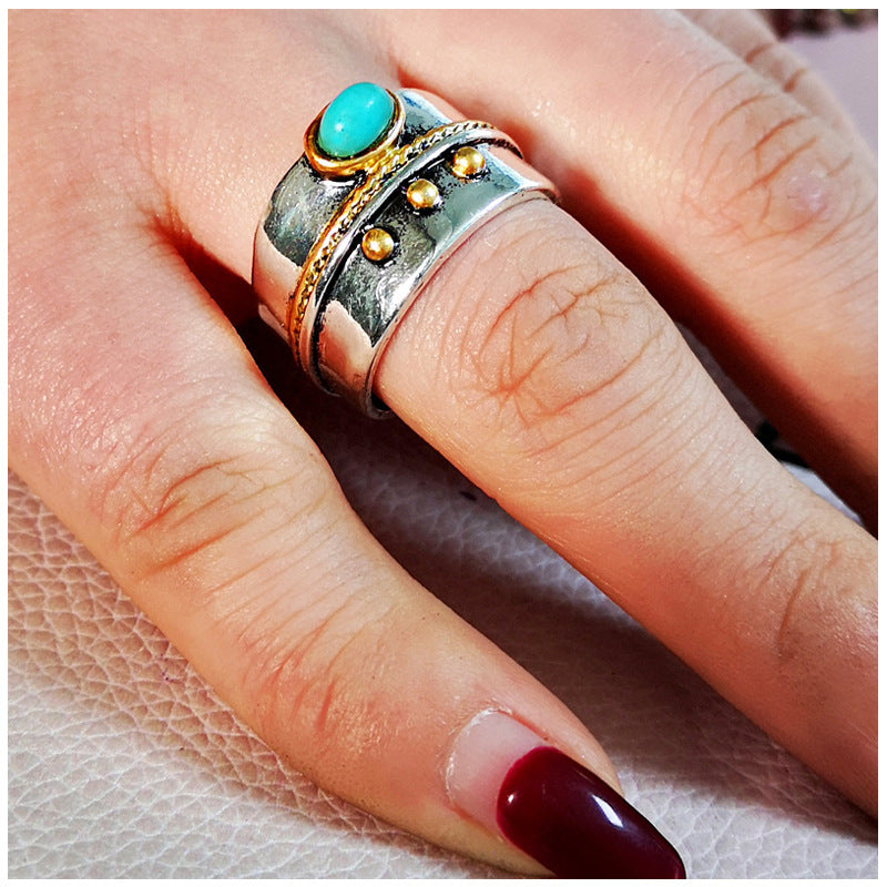 Ladies Vintage Thai Silver Turquoise Two-tone Ring
