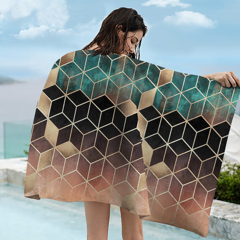 Mysterious Geometric Printing Sunscreen Quick-drying Bath Towel Shawl
