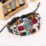 Load image into Gallery viewer, Men's Vintage Cowhide Beaded Alloy Woven Bracelet