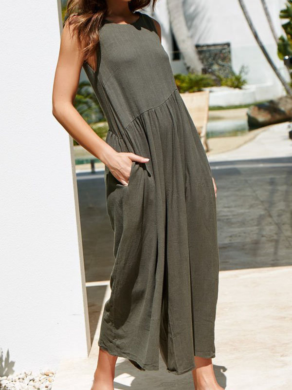 Ladies Sexy Backless Cotton Linen Loose Jumpsuit