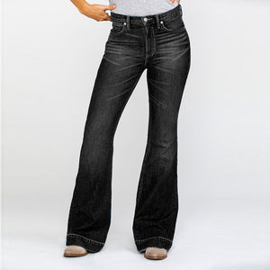High Rise Washed Stretch Bell-bottom Jeans
