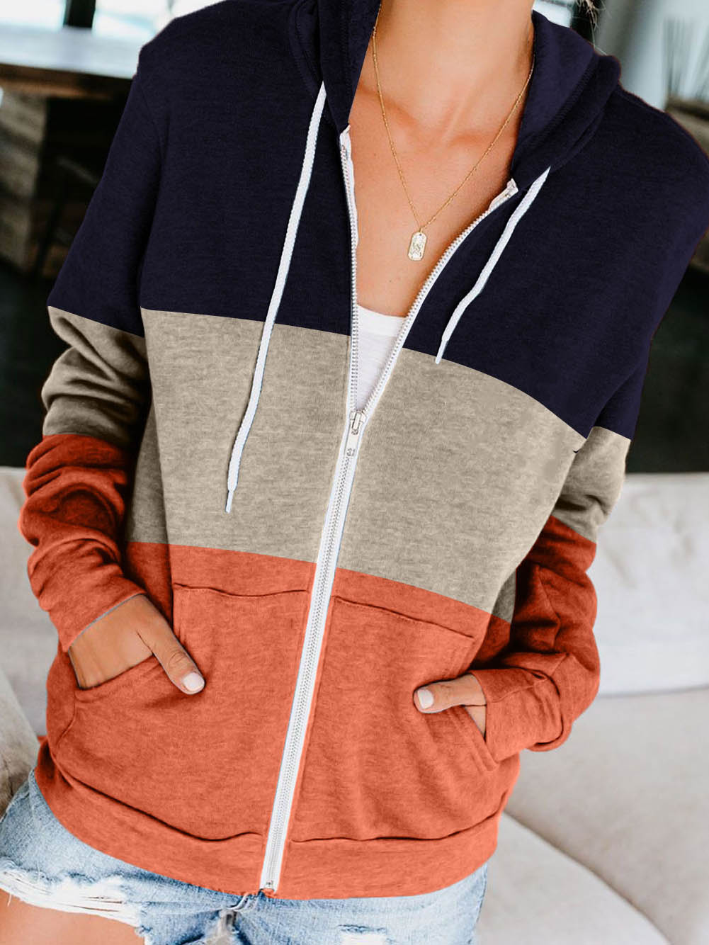 Ladies Zipper Pocket Contrast Color Hoodie