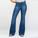 Load image into Gallery viewer, High Rise Washed Stretch Bell-bottom Jeans