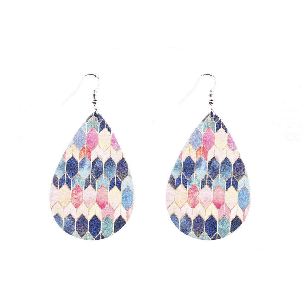 Baroque style double-sided color printing leather drop-shaped lightweight leather earrings