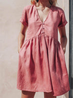 Load image into Gallery viewer, Ladies Button Simple V-Neck Cotton And Linen Dress