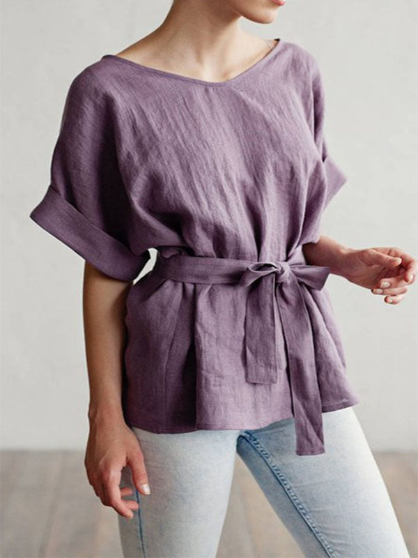 Women's Cotton Linen Loose V-Neck Bat Sleeve Waist T-Shirt